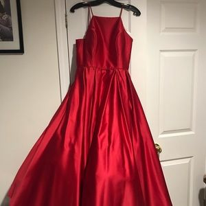 silk red prom dress